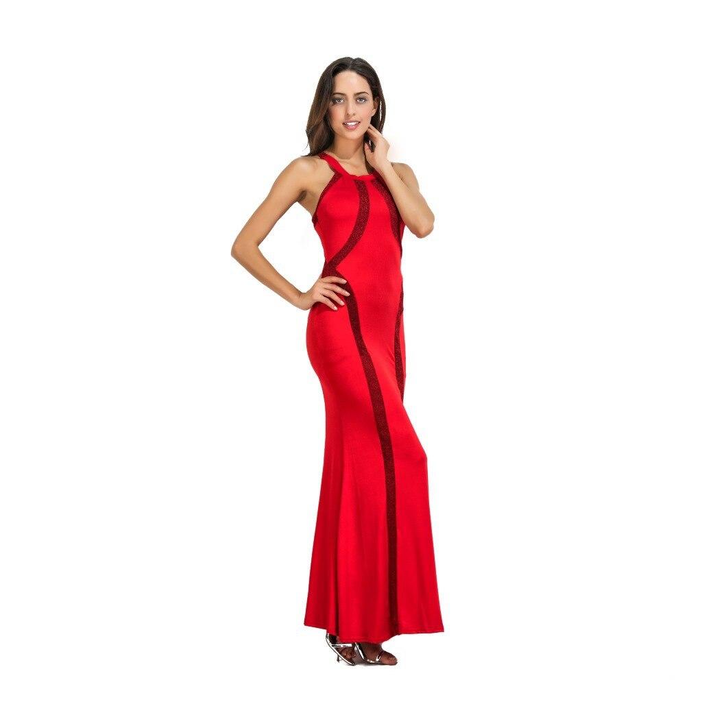 2019 robe élégante femmes Sequin garniture rouge noir bleu Jersey robe d'été Style Sexy longue robe pure Clubwear robe De Festa