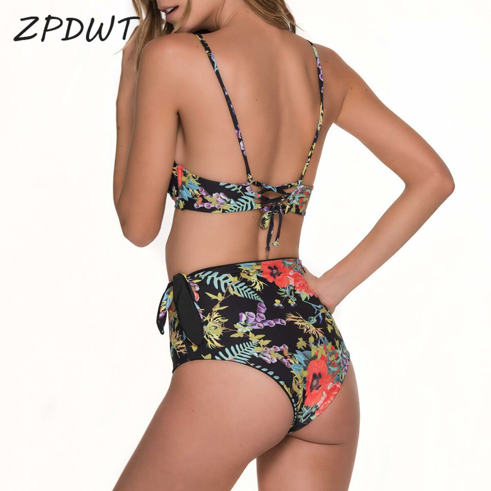ZPDWT High Waist Swimwear Women Floral Bathing Suit Leaf Bikini Set Two Piece Swimsuit Maillot De Bain Femme Swim Wear Biquini