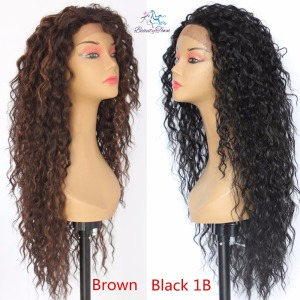 Image 5 - BeautyTown Kinky Curly Futura Heat Resistant Black Red 99j Hair Gift Daily Cosplay Makeup Synthetic Lace Front Party Women Wig