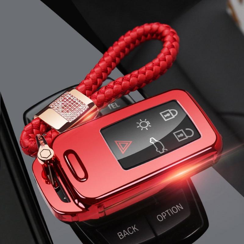 Защитный чехол ключа автомобиля чехол для VOLVO S60L S80L XC60 S60 V60 s90 cx60 xc90 vx90 стайлинга автомобилей смарт-ключ оболочки крышки брелок держатель - Название цвета: red chain set