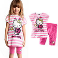 Bear Leader Fashion Girls Clothes Sets Lovely Hello Kitty Shirt+Culottes Grils clothing two-piece birthday party 2015 New Arrive