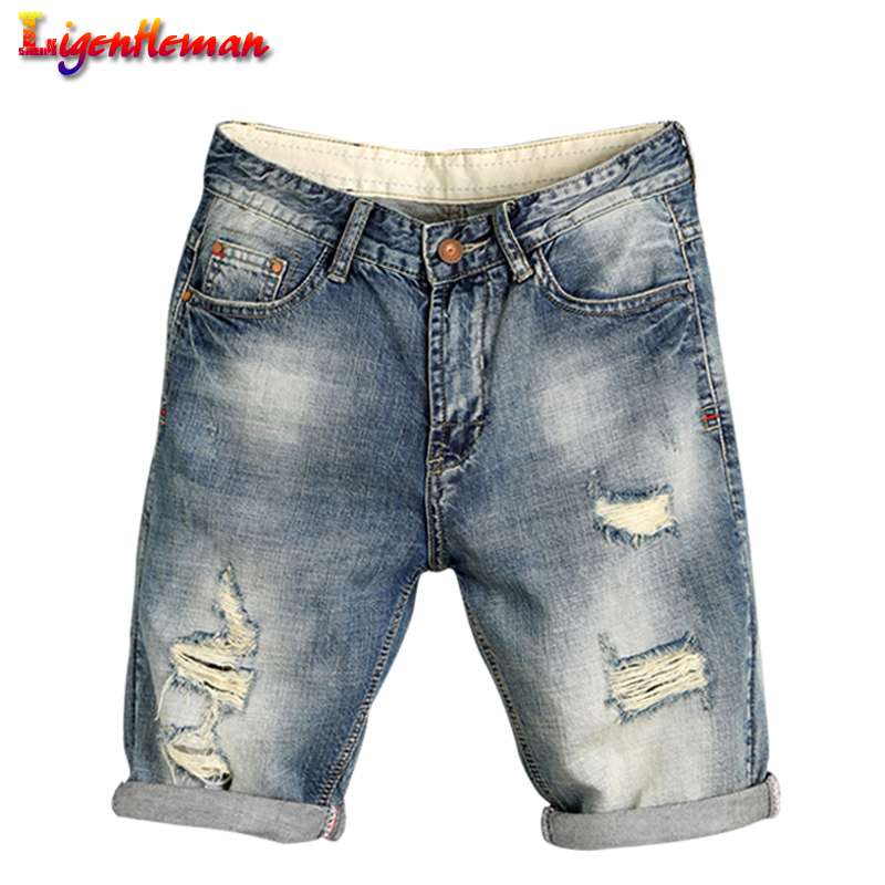 Summer Denim Shorts Men Brand Ripped Short Jeans Skate Board Harem Mens Fashion Cotton Breathable Jogger Ankle Ripped Wave QB677