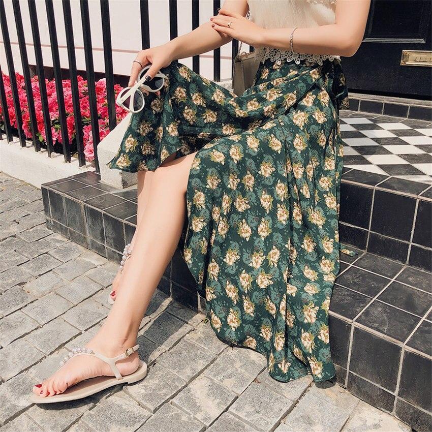 Summer Bohemian Skirt Floral Printed A-Line Midi Tutu Skirts Womens Sexy Wrap Skirt Women Beach Bodycon Falda Plisada Beachwear