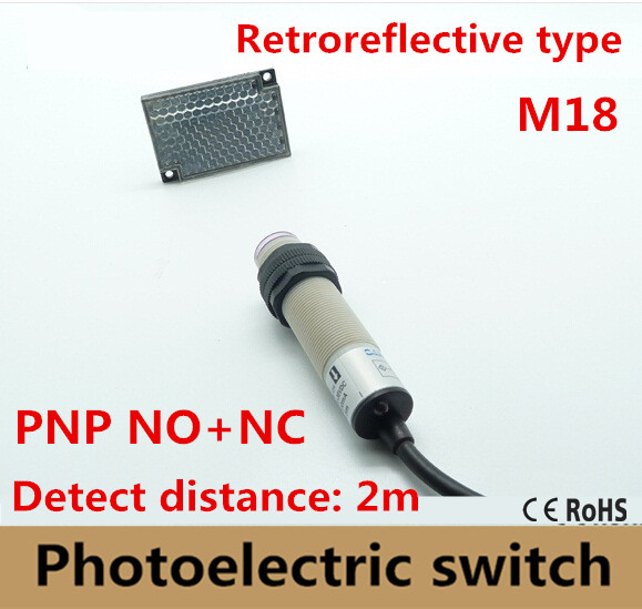 M18 Retroreflective type PNP NO+NC DC 4 wires photoelectric switch Infrared photocell sensor with mirror reflector distance 2m