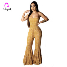 Yellow Boho Sexy Wide Leg Jumpsuit Women Off Shoulder Floral Print Jumpsuit Bodycon Flared Pants Female Elegant Beach Overalls open shoulder floral print flounce jumpsuit