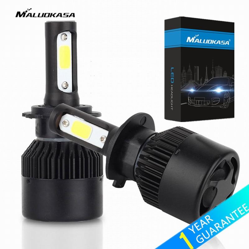 MALUOKASA 2PCs S2 8000LM H1 H4 H7 LED Car Headlight 72W H3 H8/H9/H11 9005 9006 LED Lamp 6500K White Auto DRL Light Bulb for Car hj 7440 8w 600lm 6500k 8 smd 2323 led steering reversing lamp bulb for car 12 24v 2pcs