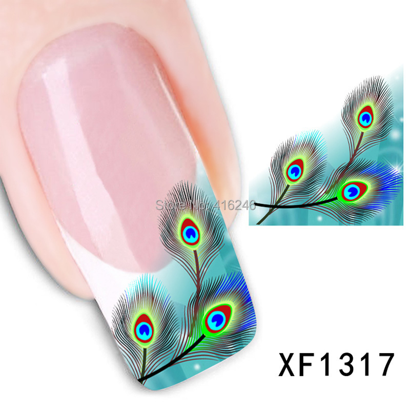 Watermark 3D Design Cute Green Fearhers Tip Nail Art Stickers Nails Water Decals Tools Manicure - Wellcome sotre store
