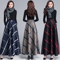 2018 Spring skirt women skirts Autumn and winter woolen skirts retro plaid A large size women's winter half length skirt wool