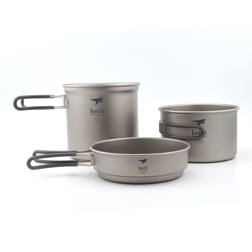 Keith KP6014 3PCS Titanium Pot Set 400+800+1200ml Titanium Camping Pot Ultralight Titanium Cookware Set Ti6014 nz titanium cookware 1200 ml