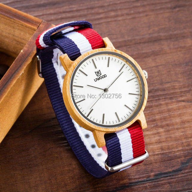 Uwood Marca de Luxo Natural Carbonizado Bambu Madeira Banda Nylon Relógio de Quartzo Analógico Original Relógios Para Homens Mulheres Presente Da Moda
