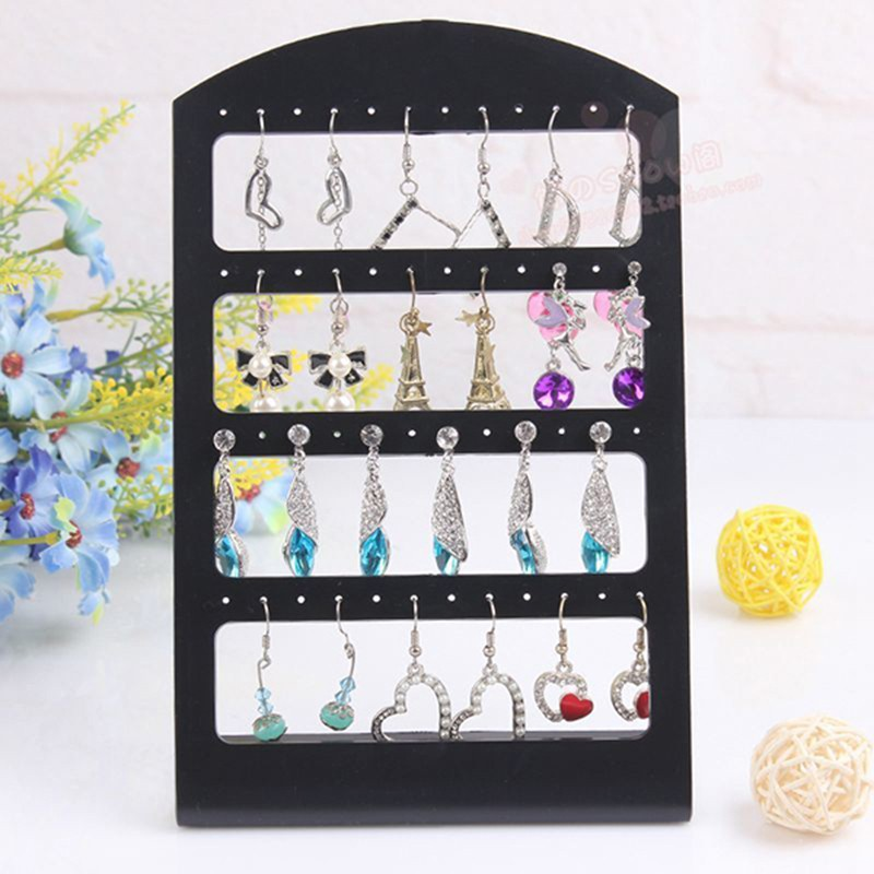 48 Holes Jewelry Organizer Rack Plastic Stand Black Earring Holder Storage Showcase Pesentoir Fashion Display Rack Etagere