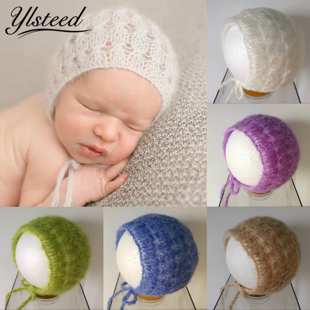 Mohair Baby Hat Handcraft Crochet Beanies Knitted Baby Boy Girls Cap Infant Costume Newborn Photo Props Photoshoot Prop