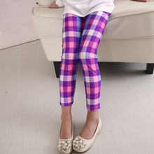 Children's pants 2018  Spring and Autumn new milk silk lattice pants students 3-12 years old pants baby girl clothes