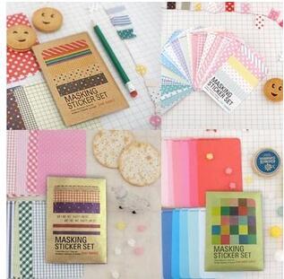 27pcs/set  MASKING STICKER SET  With Kraft Paper Package Multifunction DIY Paper Stickers Gift Label