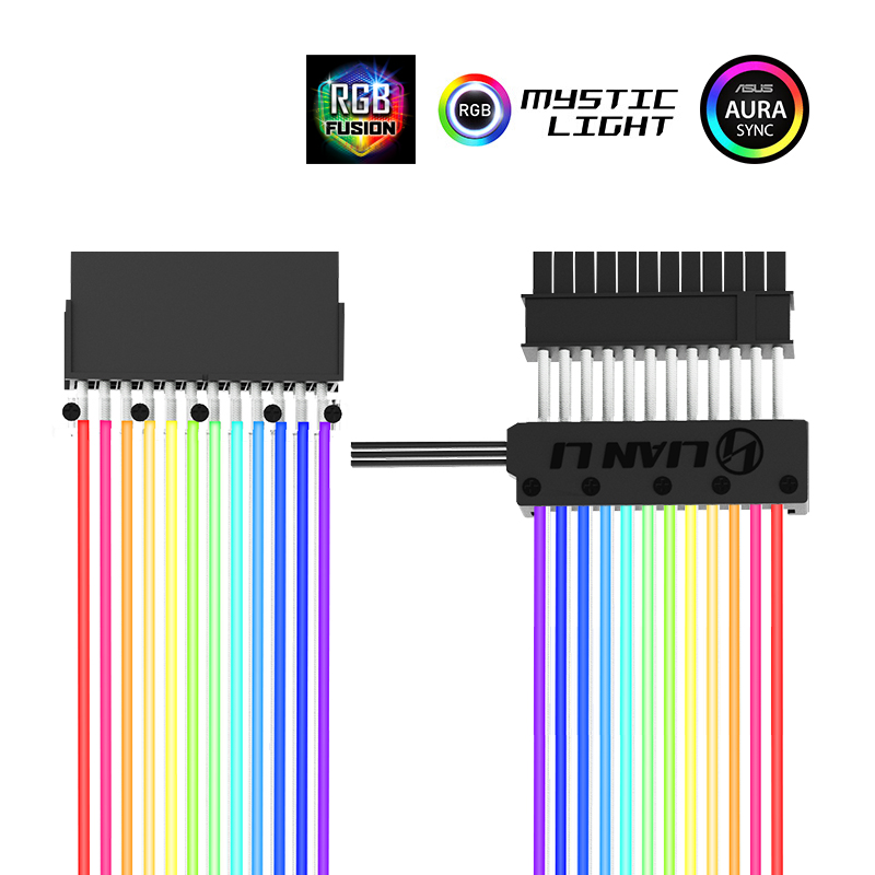 LIANLI 24p 8p Motherboard GPU Extension Cable Rainbow Color Support Synchronous AURA Motherboard Controller 5V 3PIN