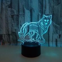 Волк 3D ночник креативный 3 D лампа визуальное освещение для украшения комнаты рождественский подарок, новинка для малышей