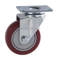 Free Shipping Medium Sized 4inch Flat Top Universal Polyurethane TPU Caster Ball Bearing Wheel Material Handling