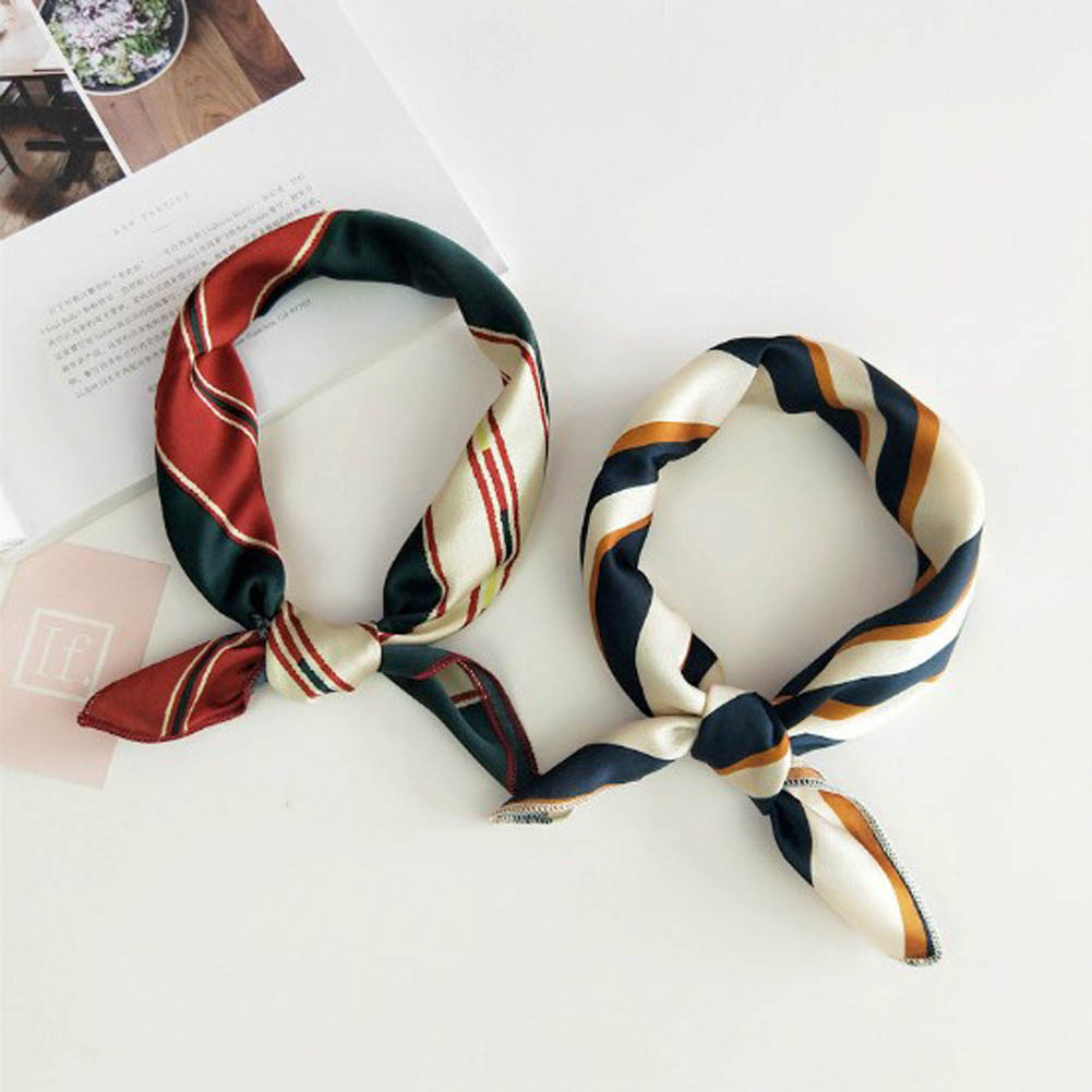 2020 Women Scarf Silk Feeling Hair Neck Scarves Square Brand Office Printing Hotel Waiter Flight Attendants Handkerchief Rings