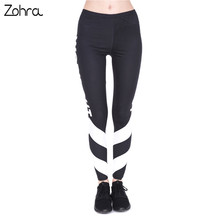 High Quality Woman Fitness Legins Work Out White Arrows Printing Work Out Legging Women High Waist Slim Leggings