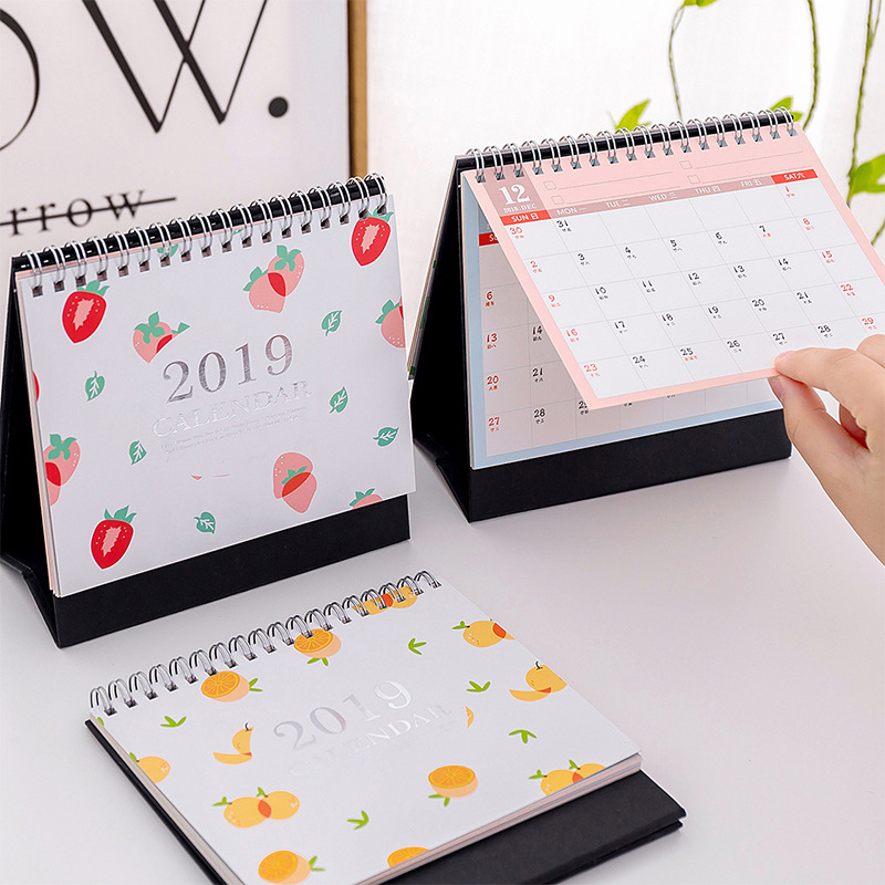 Cute Kawaii Fruit 2019 Year Paper Calendar Animal Cartoon Mini Desk Table Calendar for School Office Supplies Desktop Calendar jtc головка торцевая torx 1 4 х e6 jtc 22006
