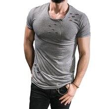 цена на Male 2017 Brand Short Sleeve Zipper Solid Color T Shirt O- Neck Slim Men T-Shirt Tops Fashion Mens Tee Shirt T Shirts 3XL FGH