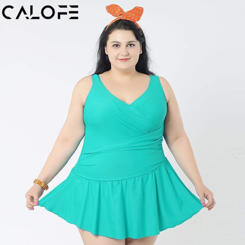 CALOFE Sexy plus size one piece swimsuit Green high waist Women Swim Dress swimwear dresses for fat women large size swimsuit plus size scalloped backless one piece swimsuit
