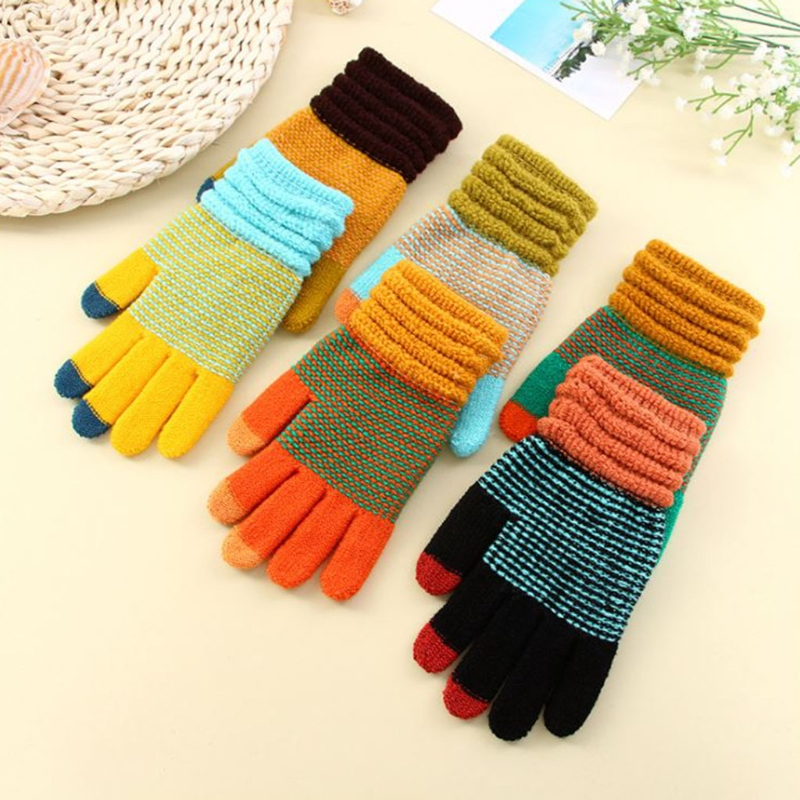 Men Women Fashion Warm Patchwork Thick 3 Fingers Touch Screen Knit Stretch Glovess Hot!
