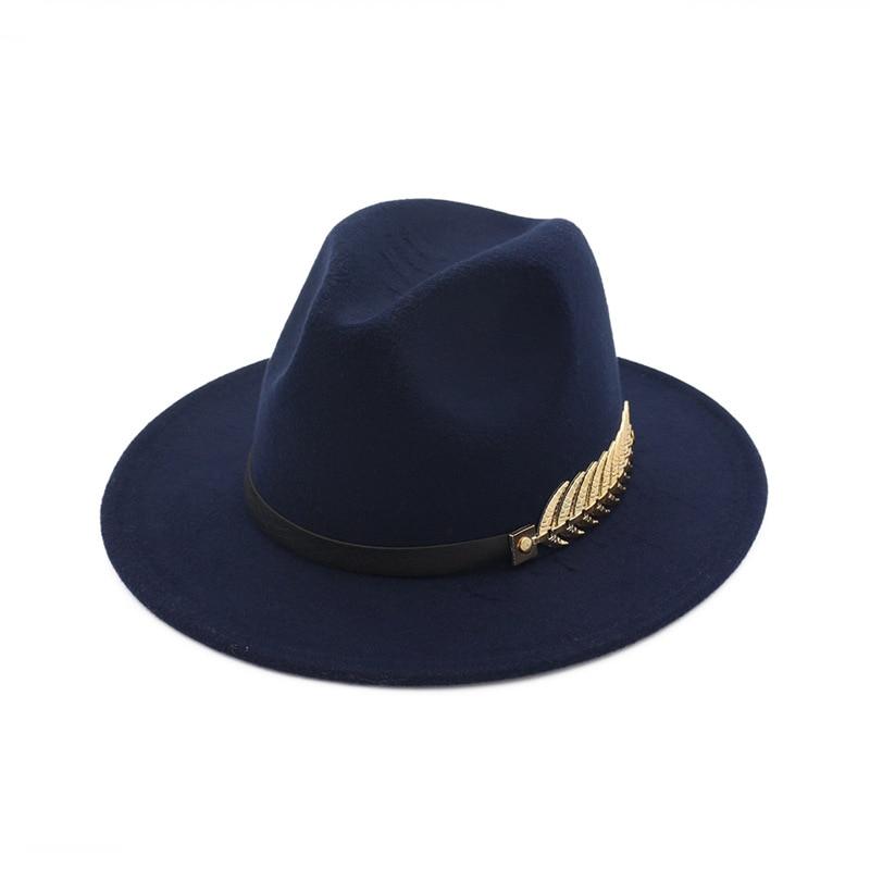 fa5c1dcb348 Unisex Wide Flat Brim Wool Felt Jazz Fedoras Hat with Belt Metal leaves Decor  men women panama style Trilby Party formal hat - Trilby Hat