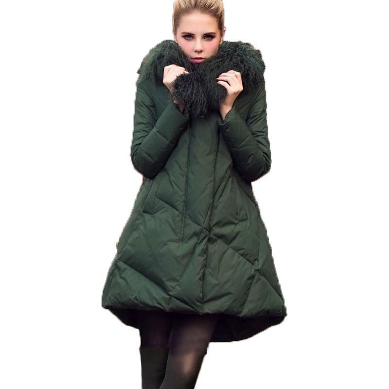Coton Vers Rembourré green Femmes 2018 Collier 4xl Manteau Femelle L'europe version Le Laine Black Parkas Tempérament Grande Veste Réel Taille Bas S De Un O4fagxTwq