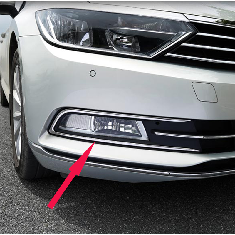 High Quality Stainless steel Front Fog lamps cover Trim Fog lamp shade Trim For Volkswagen VW Passat B8 and B8 Variant 4pcs set smoke sun rain visor vent window deflector shield guard shade for vw volkswagen passat b8 2015 2016 2017