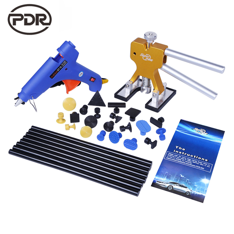 PDR Tools For Car Kit Dent Removal Dent Lifter Glue Gun Glue Tabs Suckers Suction Cup Fungi Paintless Dent Repair Hand Tools Set  pdr tools for car kit dent lifter glue tabs suction cup hot melt glue sticks paintless dent repair tools hand tools set