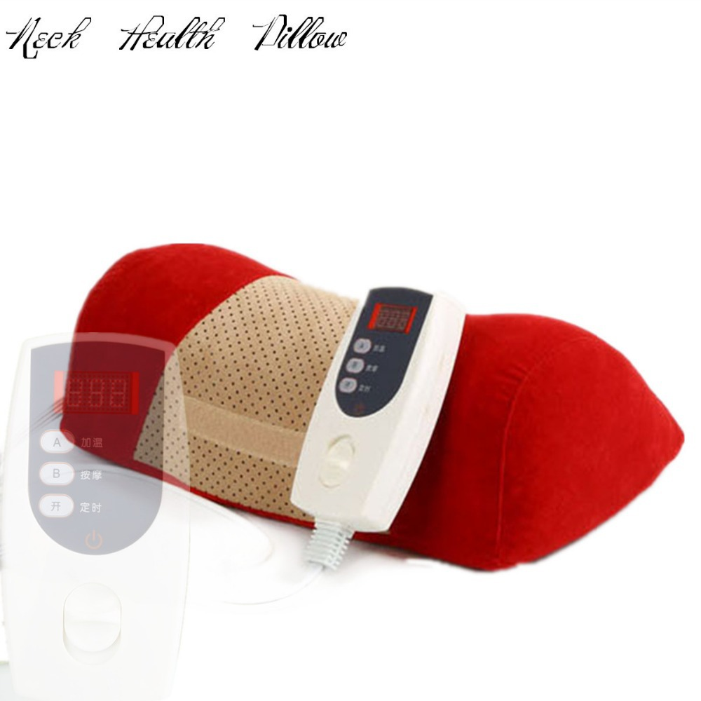 цены 2018 New electric neck health care Cervical traction heating neck traction pillow massager device pain relieve 12V red