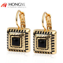 Gold Color Earrings For Women Resin Enamel Earings Famous Brand Jewelry 3 Colors Square Brincos 2018 New Arrival Bijoux(China)