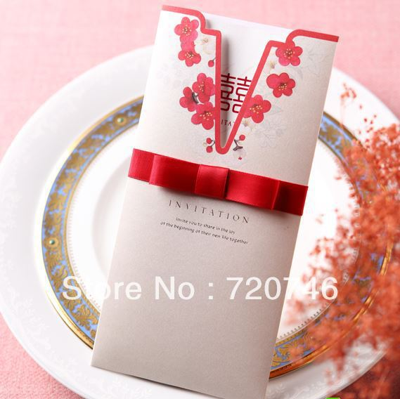 Free Shipping Wedding Card Personalized Invitations Chinese Style Invitation