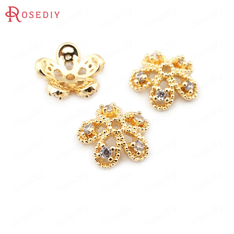 (33671)6PCS 11MM Height 4MM 24K Gold Color Brass With Zircon Flower Beads Caps High Quality Diy Jewelry Findings Accessories