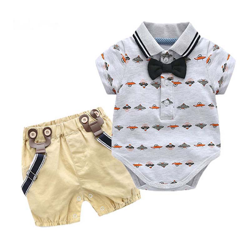 2019 Fashion Baby Boys clothes short sleeve Triangle Ass Bow ti T shirt pantse gentle man baby clothing set newborn kid suit in Clothing Sets from Mother Kids