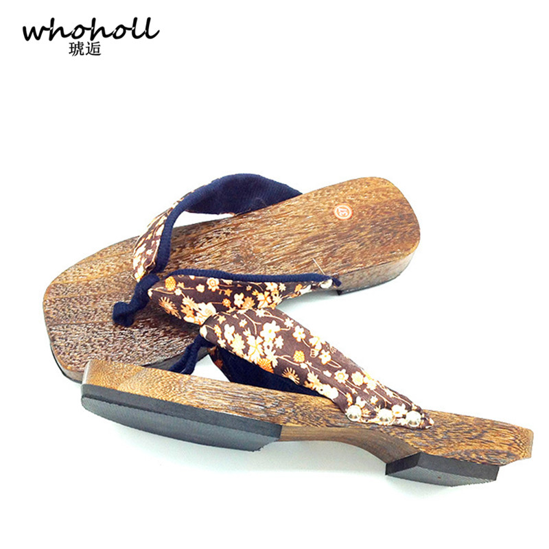 WHOHOLL Geta Women Sandals Wooden Japanese Geta Clogs Shoes Home Bathroom Slippers Floral Flat Sandals Flip-flops for Women whoholl geta women flat sandals japanese wooden geta floral printed clogs shoes for women flip flops slippers indoor home slides