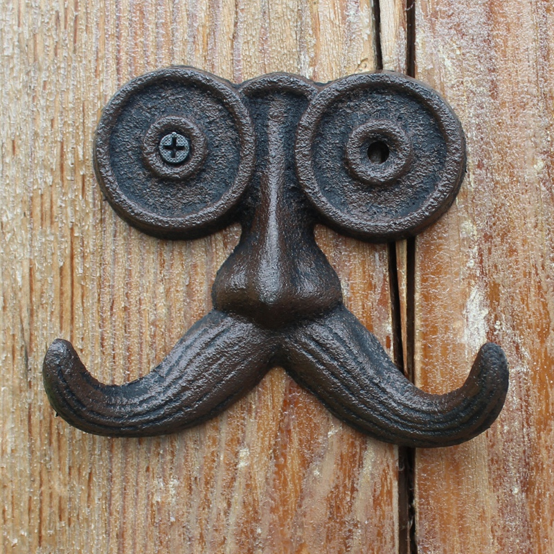 European Vintage Cute Old Man With Long Mustache Design Home Garden Decor Cast Iron Wall Hook With Two Hangers