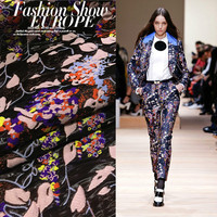 European and American fashion catwalk color abstract jacquard fabric / cloth dress autumn and winter coat
