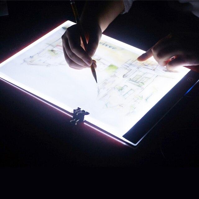 Três Nível de Led Pode Ser Escurecido Luz Pad, Tablet, Ferramentas de Diamante, Acessórios de Pintura, proteção para Os Olhos de diamante Bordado A5 Tamanho