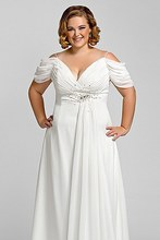 New Style White Chiffon A-Line Wedding Dresses 2015 V-Neck Empire Plus Size Bridal Gowns robe de mariage