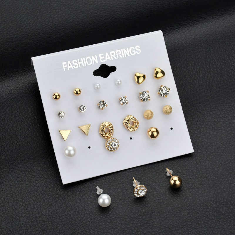 Korea Style 12 Pairs Pack Set Brincos Mixed Stud Earrings For Women Crystal Ear Studs Fashion Simulated Pearl Jewelry Wholesale