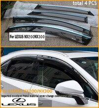 2015-2017 NX NX300h NX200T rainvisor/visera de la ventana/parasol/sombra/visera, excelente PMMA material, de baja rentabilidad