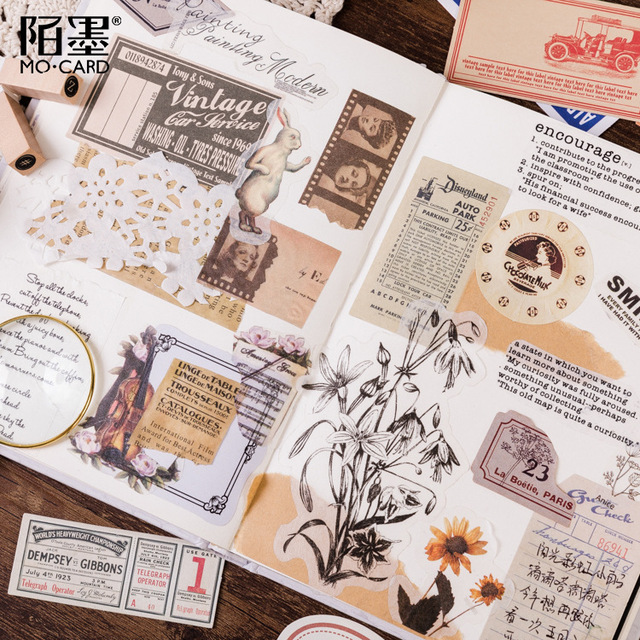 60pcs/box Vintage Plant Travel Matchbox Diary Stickers Retro Stamps Scrapbooking Korean Cute Bullet Journal Sticker Label 3