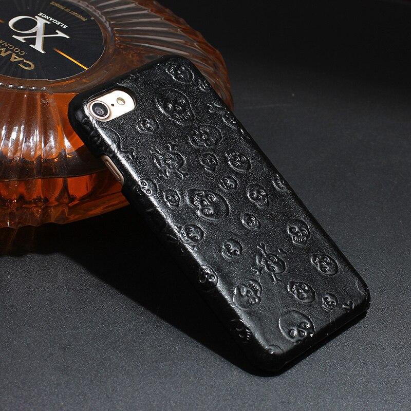 imágenes para Original Natural Real Fundas De Cuero Genuino de la Vaca Para el iphone 7 plus Plus 7 de Lujo del Teléfono Celular 3D Del Cráneo Del Pirata de La Contraportada caso