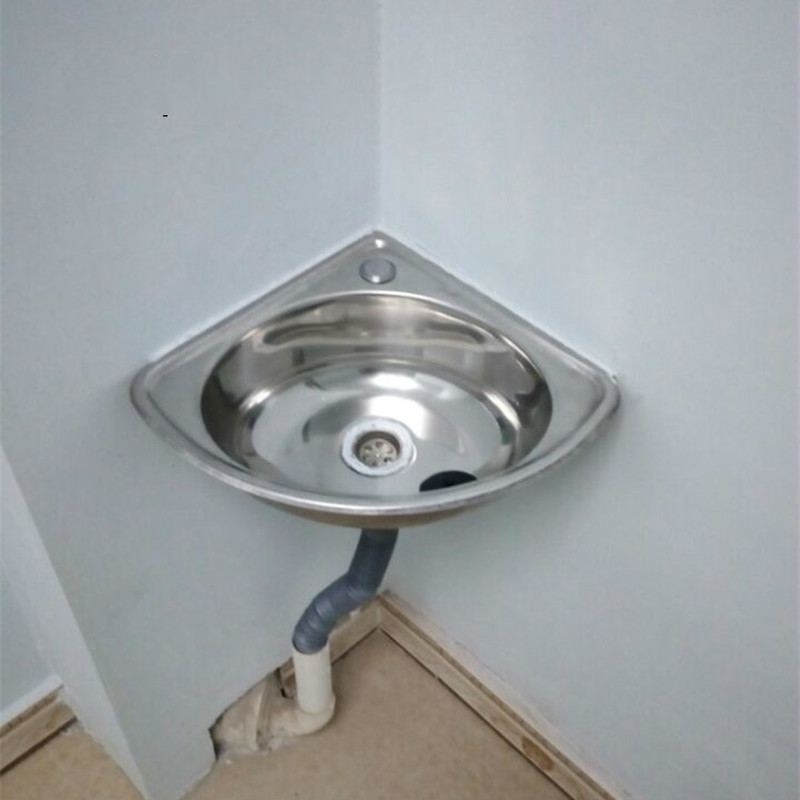 Stainless steel triangle wash basin thick small sink corner wall-mounted single tank bathroom corner sink mx4101030