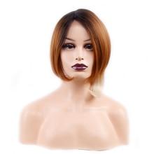 עמירה קצר ישר פאת בוב Ombre בלונדינית שיער פאה שחור חום אדום תחרה קדמי פאות לנשים סינטטי טמפרטורה גבוהה סיבים