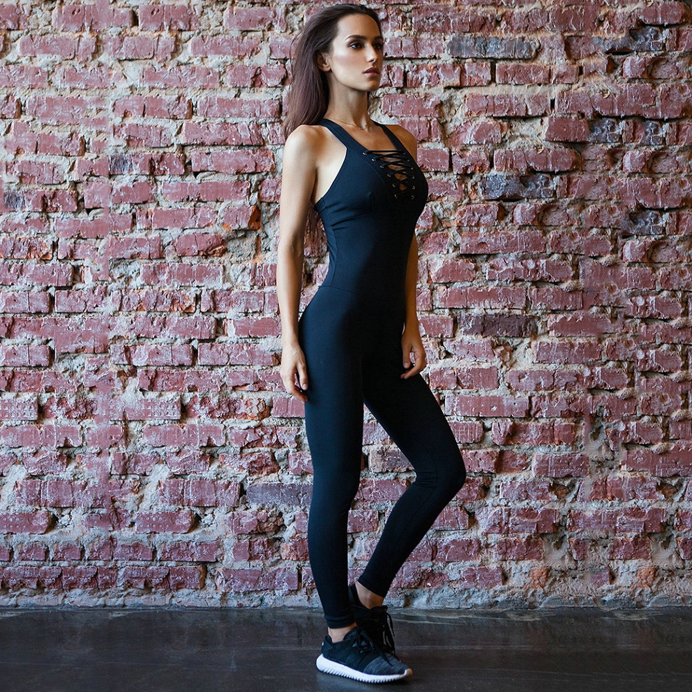 Women Bandage Fitness Jumpsuit Sportswear Sexy Backless Cross Eep V-Neck Hollow Out Overalls Tracksuit Black Sleeveless Playsuit