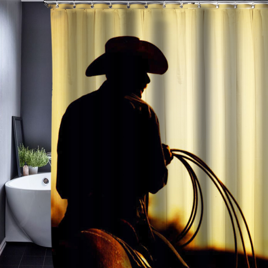 Cowboy Shower Curtain Pattern Customized Waterproof Bathroom Fabric 150x180cm For In Curtains From Home