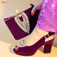doershow purple shoe and bag set for party Italian shoe with matching bag new design lady matching shoe and bag!SLX1 3